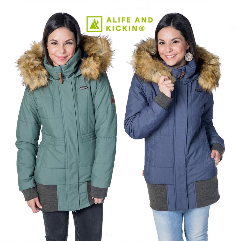 Alife and Kickin Damen Winter Steppjacke ALVA Jacket mit Kapuze Stehkragen
